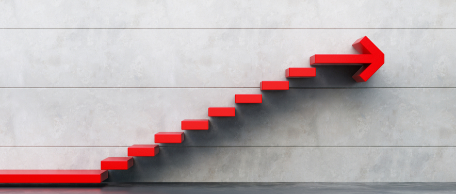 image of stairs going upward with an arrow pointing forward