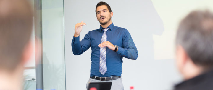 alt text image man giving a presentation representing a second chance