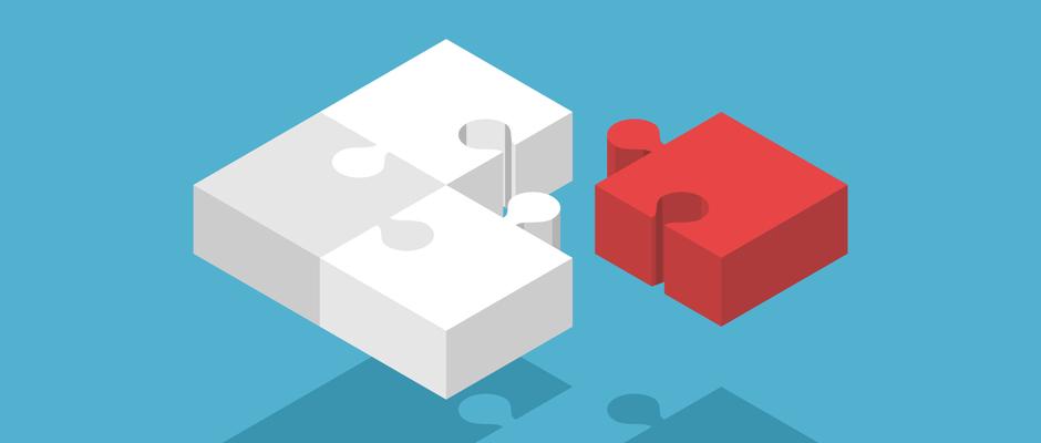 A red puzzle piece that fits into the sales job descriptions